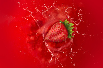 strawberry splash into juice liquid red