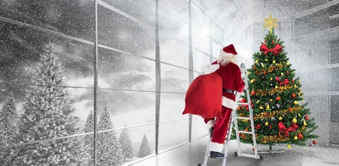 Composite image of santa steps up a ladder