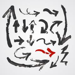 Hand drawn Arrows vector set.
