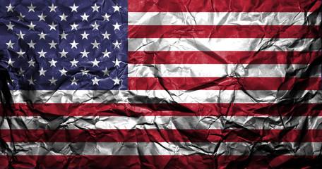 Crumpled American flag.