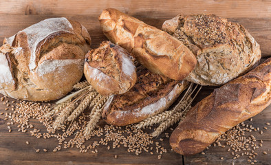 Poster de jardin Boulangerie Composition of various breads