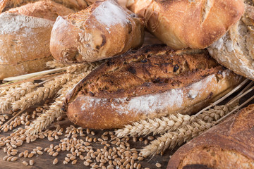 Deurstickers Bakkerij Composition of various breads