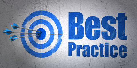 Studying concept: target and Best Practice on wall background