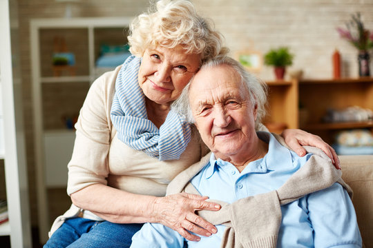 Affectionate elderly couple