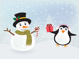 Vector of Christmas card, postcard or banner design with cute snowman and lovely penguin hold a red gift on a snow background