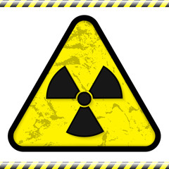 Vector illsutration of radiation sign with warning strip