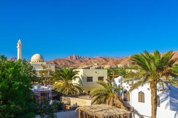 View of the mosque and the houses at the foot of Mountains Sinai