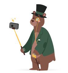 Selfie photo bear business man vector portrait illustration on white background