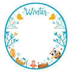 Winter Tree With Animal On Circle Frame, Animal, Activity, Travel, Winter, Season, Vacation