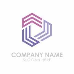 Initial E Triangle Play Box Logo