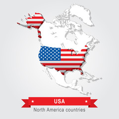 USA. All the countries of North America. Flag version.