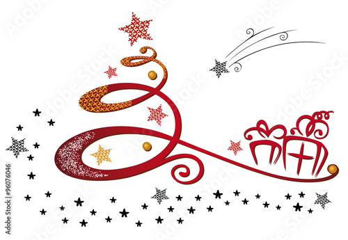 abstrakter weihnachtsbaum mit geschenken und sternen. Black Bedroom Furniture Sets. Home Design Ideas