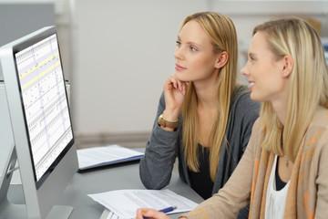 zwei kolleginnen schauen auf eine tabelle am computer