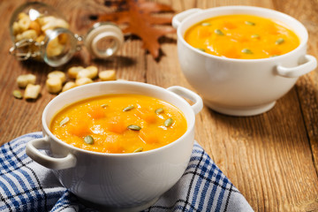 soup, cream of pumpkin served with roasted seeds and croutons.