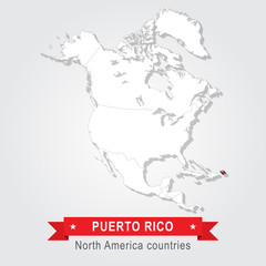 Puerto Rico. All the countries of North America. Flag version.