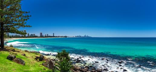 GOLD COAST, AUS - OCT 4 2015: Gold Coast skyline and surfing bea