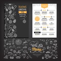 Christmas party invitation restaurant. Food flyer.