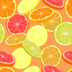 Repeating seamless pattern of different citruses.