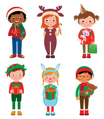 Children in costumes Christmas/Vector illustration of kids in costume of Christmas isolated on white background