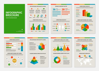 Colorful business A4 brochures with infographic vector elements