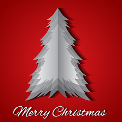 Greeting card with origami Christmas tree and wish