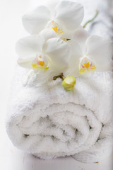 SPA concept with towel and orchid