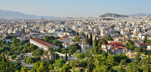View of central downtown Athens as seen from the ancient Greek Acropolis