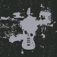 Advertising card with guitar silhouette