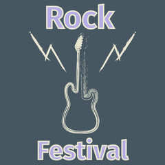Rock festival poster with guitar silhouette