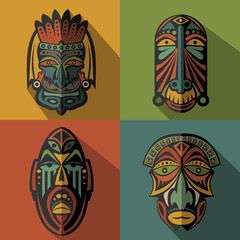 Set of African Ethnic Tribal masks on colour background