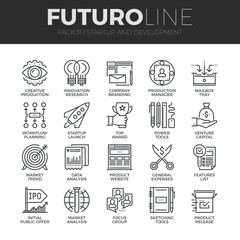 Startup and Development Futuro Line Icons Set