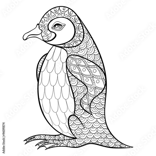 Coloring Pages With King Penguin Zentangle Illustartion For Adu