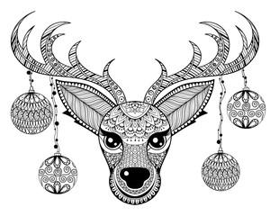 Zentangle vector Reindeer face with chriatmas decoration balls f