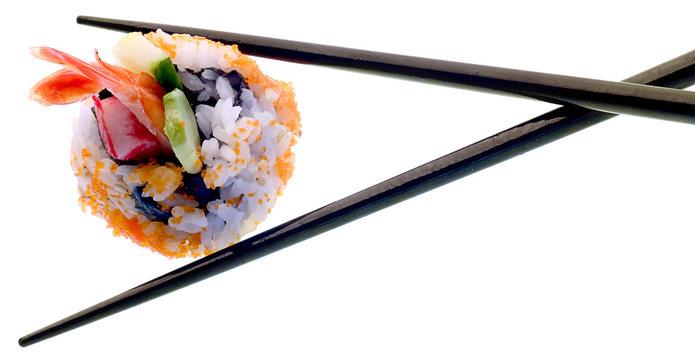 Sushi and chopsticks isolated on white.