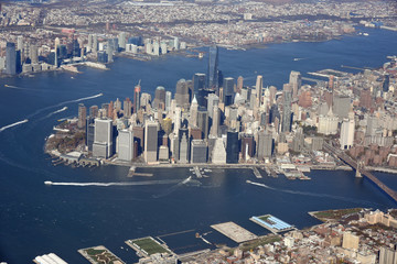 Aerial view of Lower Manhattan, and skyline of New York City