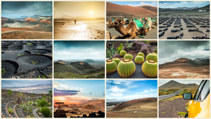 Photo collage of landscapes from island Lanzarote
