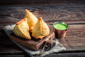 Yummy samosa with meat