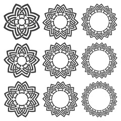 Set of magic knotting mandalas. Nine circular decorative elements with stripes braiding for your design