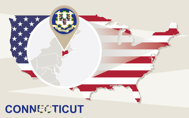 USA map with magnified Connecticut State. Connecticut flag and m