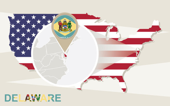USA map with magnified Delaware State. Delaware flag and map.