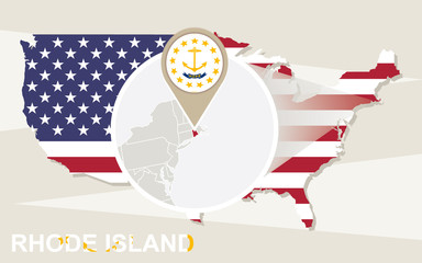 USA map with magnified Rhode Island State. Rhode Island flag and