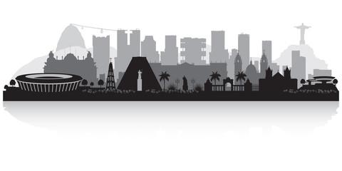 Wall Mural - Rio de Janeiro Brazil city skyline silhouette