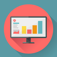 Flat style icon of wide angle monitor with marketing presentation.