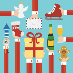 Merry Christmas and New year modern flat design