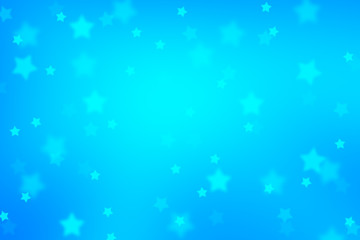 Magic blurry star shape bokeh abstract Christmas and New Year Holidays copy space on blue background. Lovely blue colored Xmas greeting card illustration background.