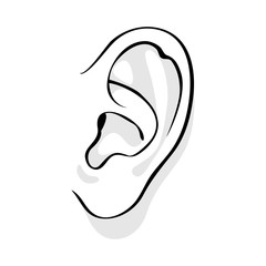 Human ear vector illustration.