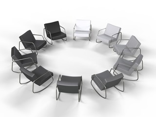 Monochrome Circle of Armchairs