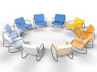 Circle of Modern Armchairs