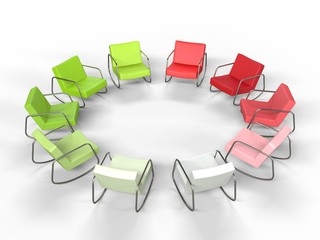 Red and Green Armchairs in a Circle
