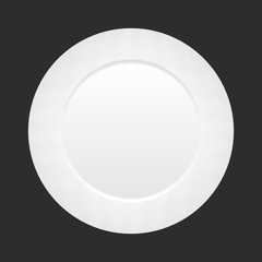 Vector white empty plate on dark background. top view